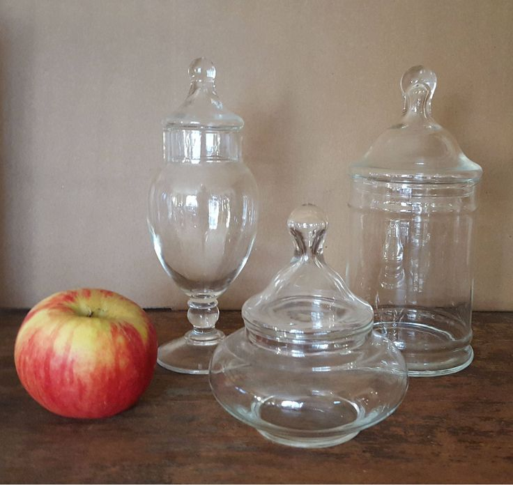 Vintage Glass Apothecary Jars With Lids, Clear Glass Jars, Set Of 3 Glass  Jars