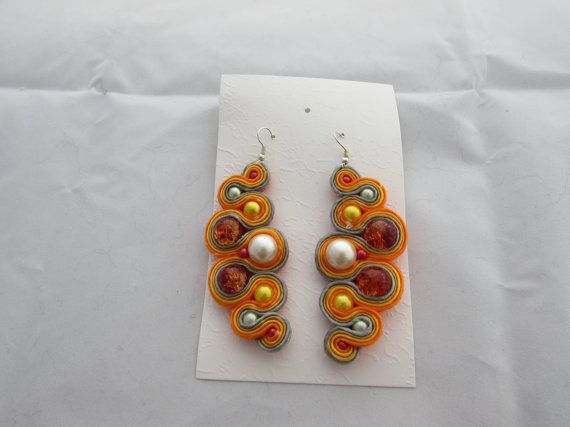 """Orange-yellow with pearl and """"cracked"""" red glass earrings soutache"""