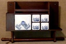PRIMITIVE~5-DRAWER 'BLUE ONION' WOODEN SPICE or APOTHECARY CABINET w/TOWEL BAR