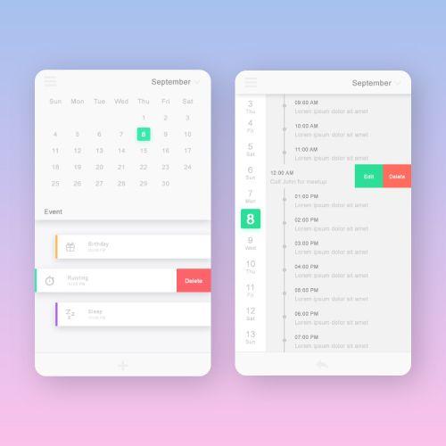Calendar UI mobile