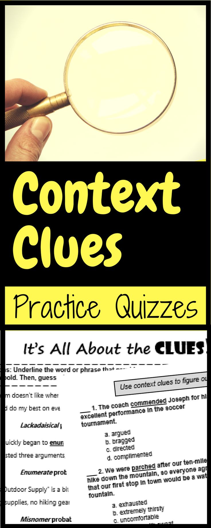 Practice reading for context clues with this set of four context clue quizzes, including lots of sentence examples in both short-answer and multiple-choice formats. These are great for homework, quizzes, whole-class practice, or end-of-year test review!