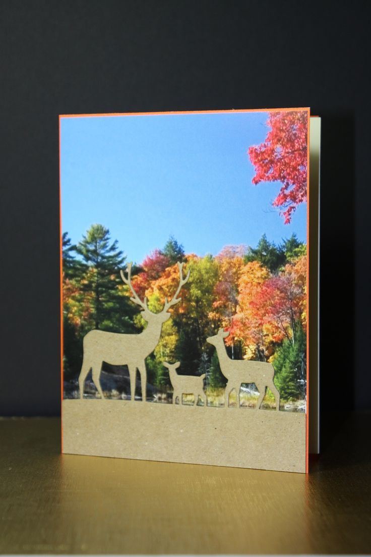 Blank card, Memorybox Dies Deer Trio Lotte Huxley