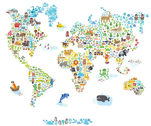 Iconic Cultural World Map | Pop and Lolli. I'd like to have this for the kids playroom.