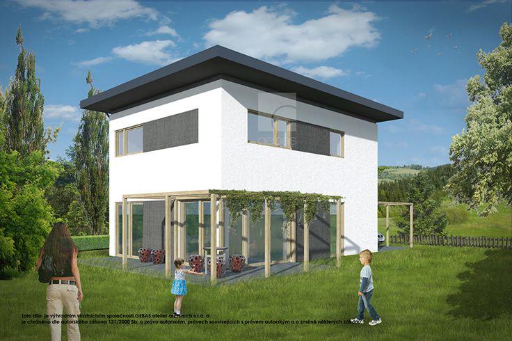 Střecha je plochá.   Vnější fasáda objektu je řešena jako klasická fasádní omítka ve dvou odstínech.