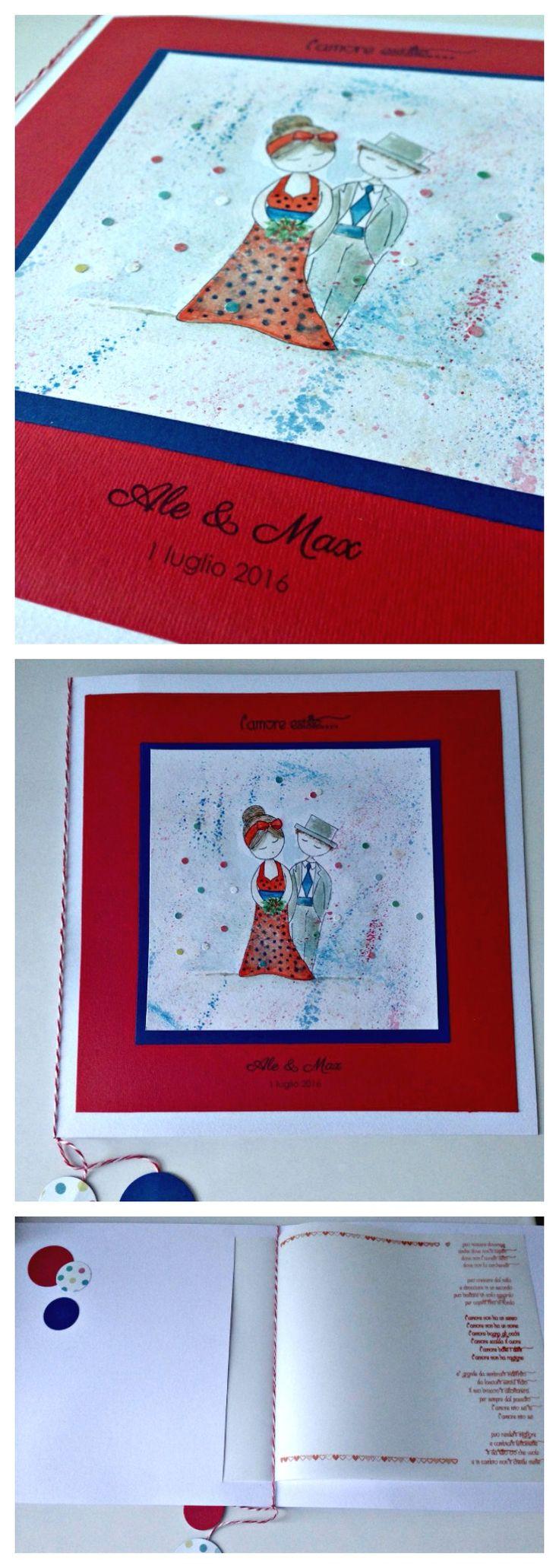 Dolci sposini Ale & Max. #wedding #weddingcard #weddingday #oggisposi #nozze #papercraft #celebrate #pinup #pois #fattoamanoconamore #madeinitaly #lacasasullalbero #savethedate #loveyou #handmadewithcare #handcrafted #savethedate