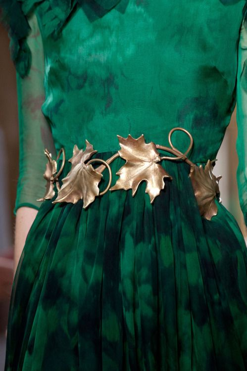 A fantastic green dress with golden leaves belt. Queen of nature clothing
