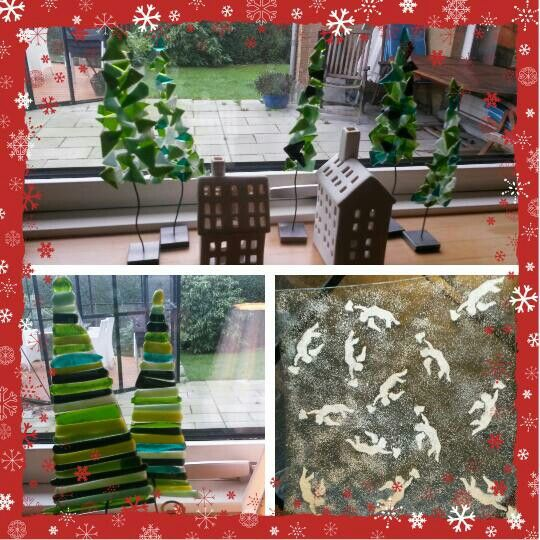 Glasfusing. Juletræer og fad med engle