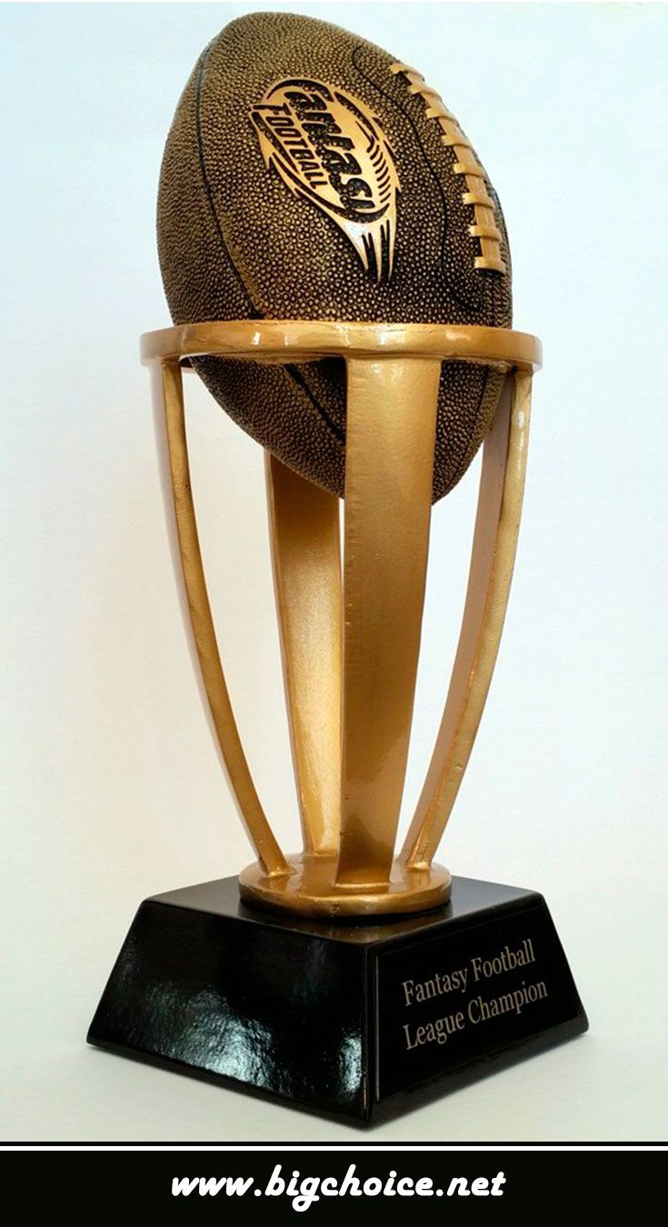 Buy fantasy football championship trophy for the winners. The trophy looks so expensive because the gold color is used.