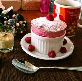 "X'mas ラズベリースフレ ""Raspberry Souffle"" ❥ ふわふわの温かいうちに|レシピブログ"