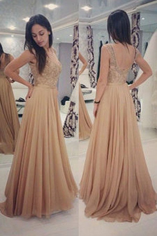 Backless Prom Dresses with Beading,A-line Long Chiffon Prom Dresses,Evening Prom Gowns,SIM450