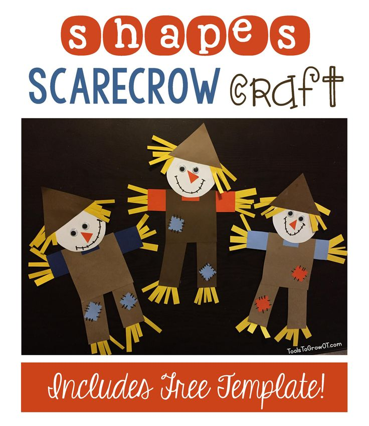 Fall themed Shapes Scarecrow Craft Activity for kids - includes FREE Printable Template! Pinned by SOS Inc. Resources. Follow all our boards at pinterest.com/sostherapy/ for therapy resources.
