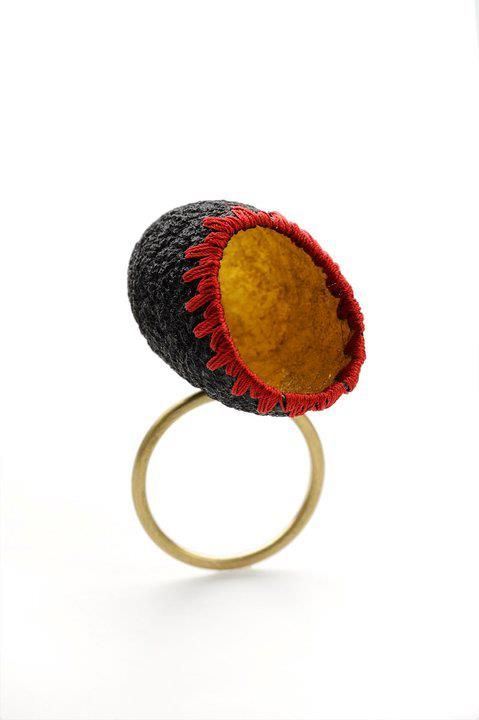 ring with silk cocoon, gold leaf, silk thread, 18k gold