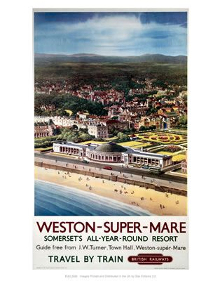 Weston-super-Mare Somerset's all-year-round resort #Vintage #Rail #Train #Poster…