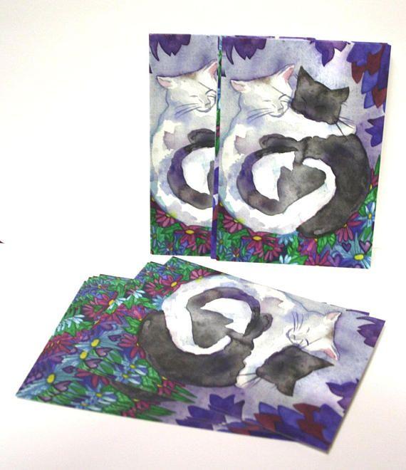 Cat Friends Postcards Set Of Ten Postcards White Cat Black Cat