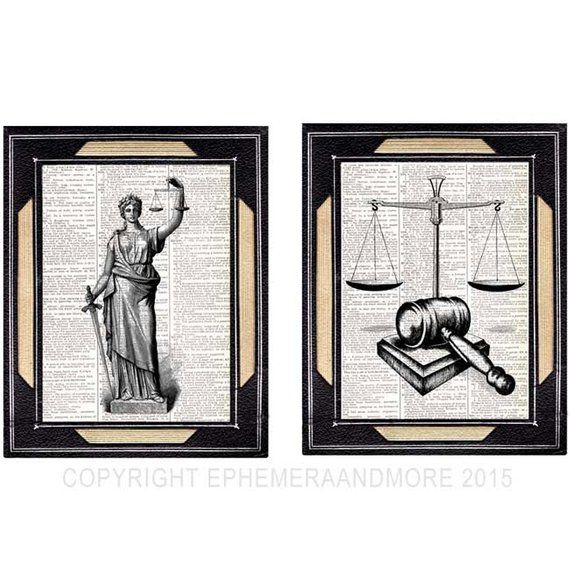 Justice Lady And Scale Gavel 2 Art Prints Law Barrister Lawyer Etsy Lawyer Office Decor Unframed Art Prints Vintage Dictionary