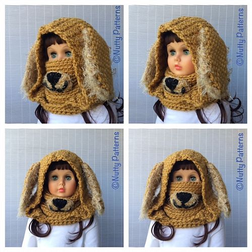 This makes me smile- Dog Hooded Cowl pattern by Bina Alper