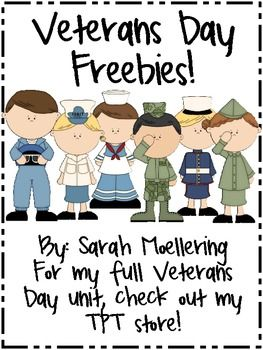 Veterans Day Freebies that can work for Remembrance Day