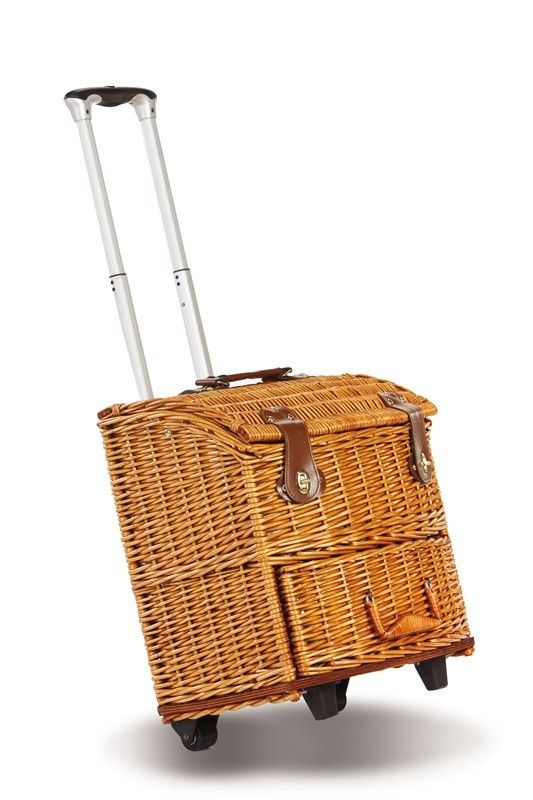 Features: -Floral/ Vine lining. -Basket on wheels with large insulated cooler and top of the line components. -Off-white porcelain dishes. Product Type: -Picnic Basket. Cutlery Flap: -Yes. Doubl