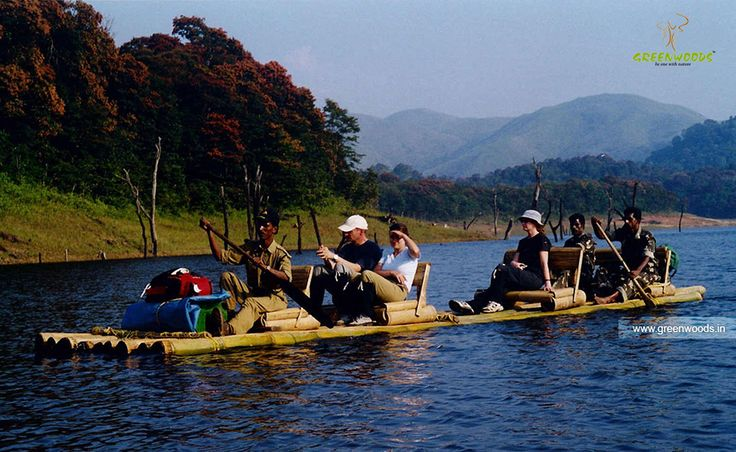 Bamboo rafting in Thekkady, Kerala.