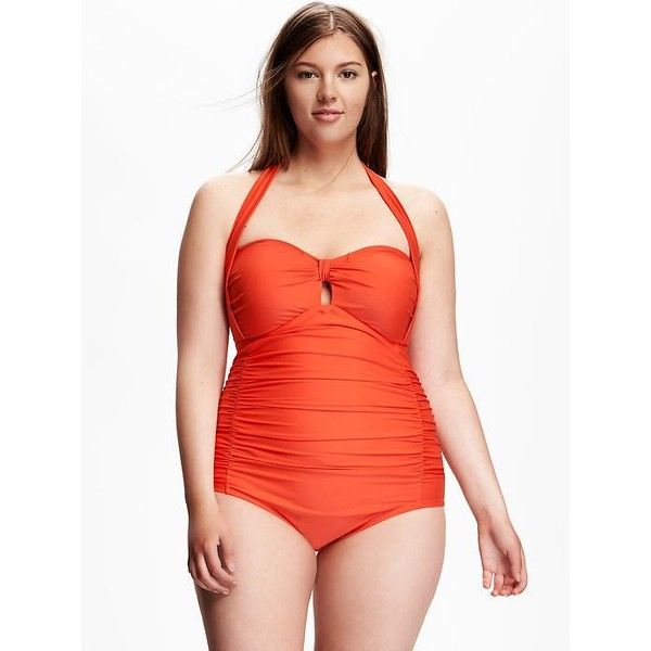 Old Navy Ruched Plus Size Halter One Piece Swimsuit ($33) ❤ liked on Polyvore featuring plus size women's fashion, plus size clothing, plus size swimwear, plus size one-piece swimsuits, good vibrations n, plus size, plus size bathing suits, neck ties, plus size swimsuits and 1 piece swimsuit
