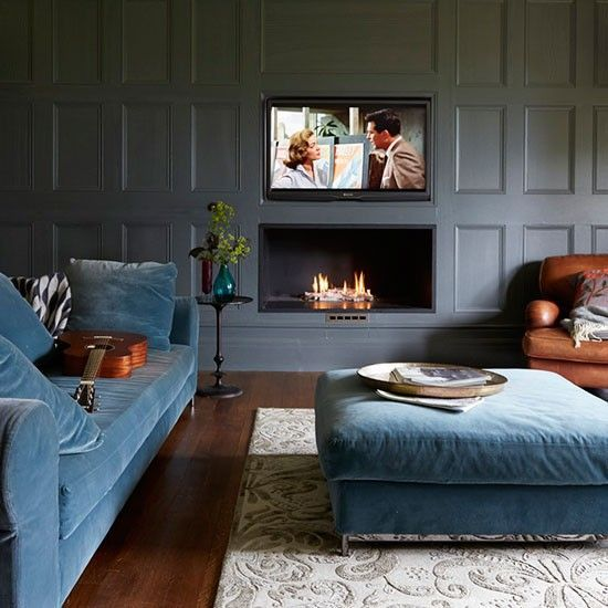 Dark Blue Grey Panelling Lends A Gentlemans Club Vibe To This Snug Image