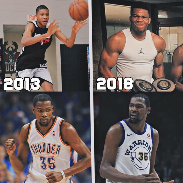Giannis And Kd 2013 Vs 2018 Very Interesting Basketball Players Nba Basketball Photography Basketball Memes