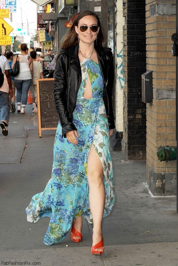 Image result for maxi dress with leather jacket celebrity