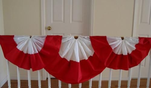 Canada Day party decorations and ideas blend red and white decorating colors into outdoor home decor, brightening up backyard designs on the 1st of July