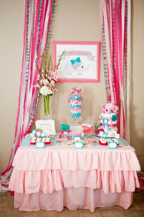 """""""Little Peanut"""" Elephant-Themed Baby Shower - click through for cake, favors, decor and more!: Pink And Turquoi Baby Shower, Tables Baby Shower Pink, Pink Elephants Shower, Desserts Tables Baby Shower, Elephants Baby Shower, Baby Shower Pink And Turquoi, Baby Shower Desserts Tables, Baby Shower Turquoi And Pink, Baby Shower"""