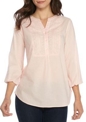 New Directions Women's Petite Size Solid Embroidered Bib Top - Pillar Pink - Petite Long Or Petite Large Petite