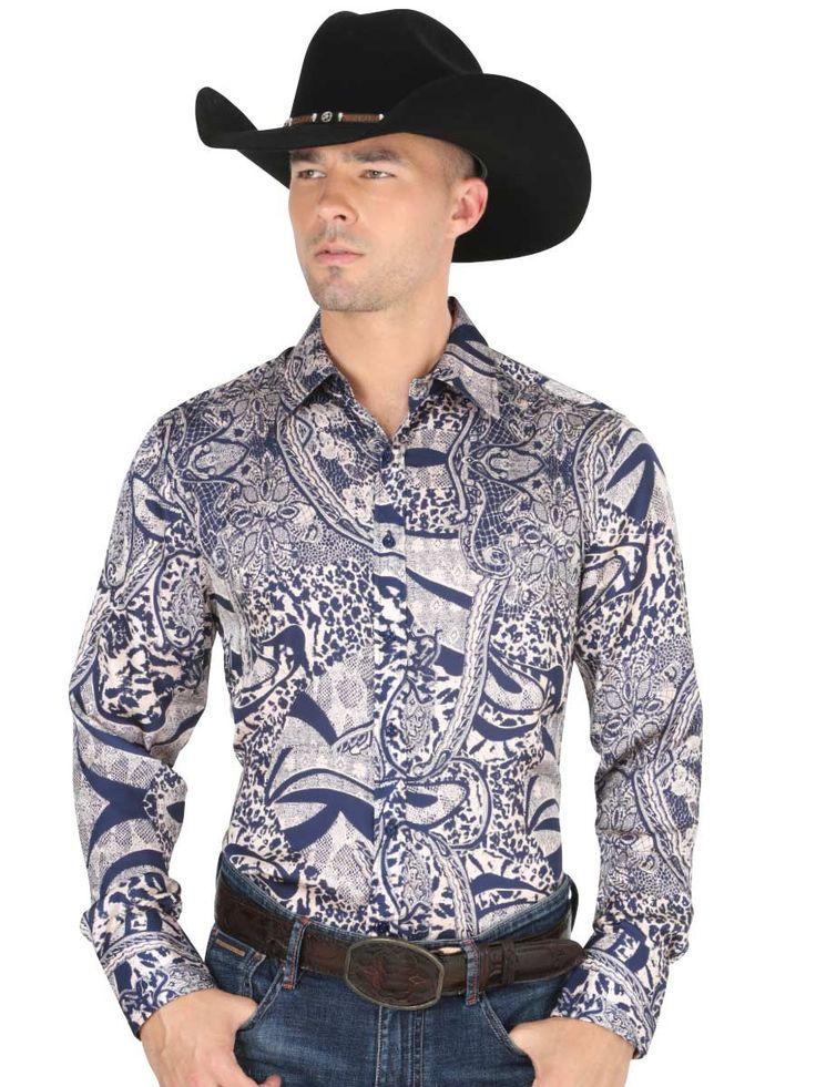 34217 Camisa Vaquera Manga Larga De Hombre 'El General', 100% Polyester - Blue