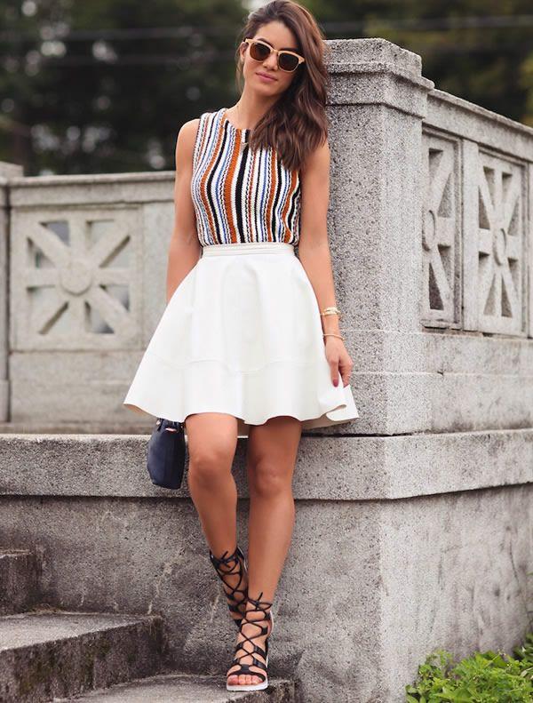 camila coelho look blusa listras saia branca street style
