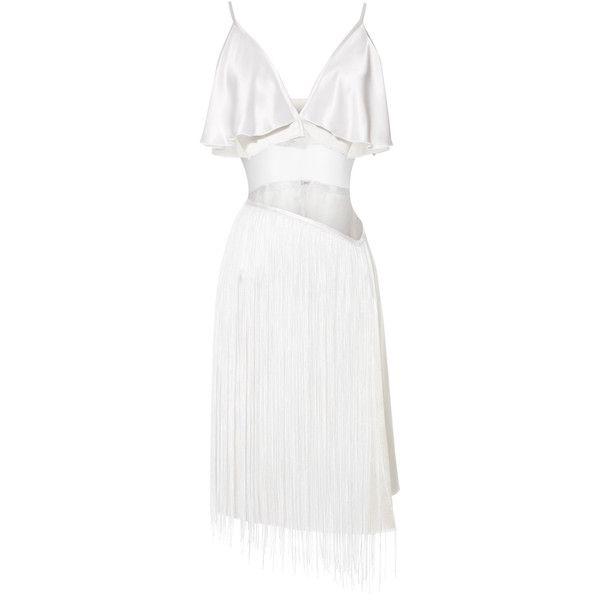 Rodarte White Hammered Silk Jacquard Dress With Fringe ($5,520) ❤ liked on Polyvore