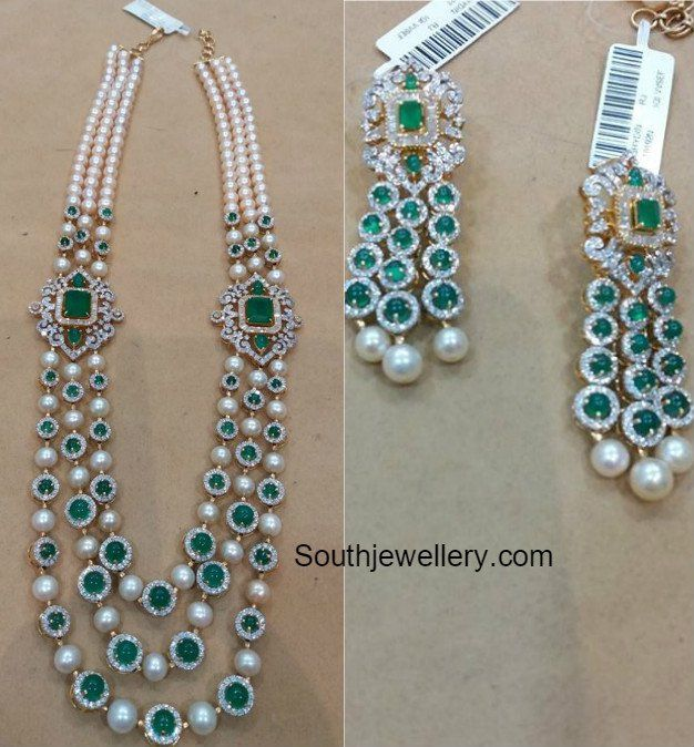 Diamond Emerald South Sea Pearls Mala