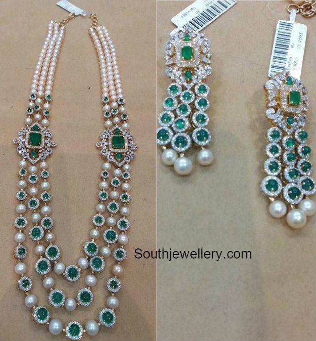 Diamond Emerald South Sea Pearls Mala