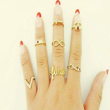 édes+női+arany+ötvözet+határon+bowknot+midi+gyűrű+(7+db)+–+USD+$+1.99
