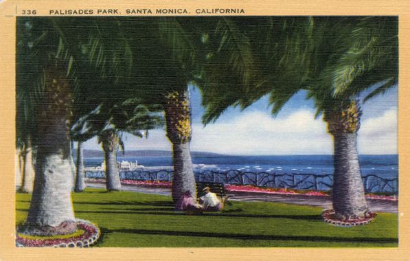 Early 20th-century postcard depicting Santa Monica's Palisades Park. The text on the reverse read, 'Atop a lofty bluff is Palisades Park, one of the most beautiful on the Pacific Coast, where amid tropical palms and gay flowers, one may rest and view the grandeur of the blue Pacific.' Courtesy of the Werner Von Boltenstern Postcard Collection, Department of Archives and Special Collections, Loyola Marymount University Library.