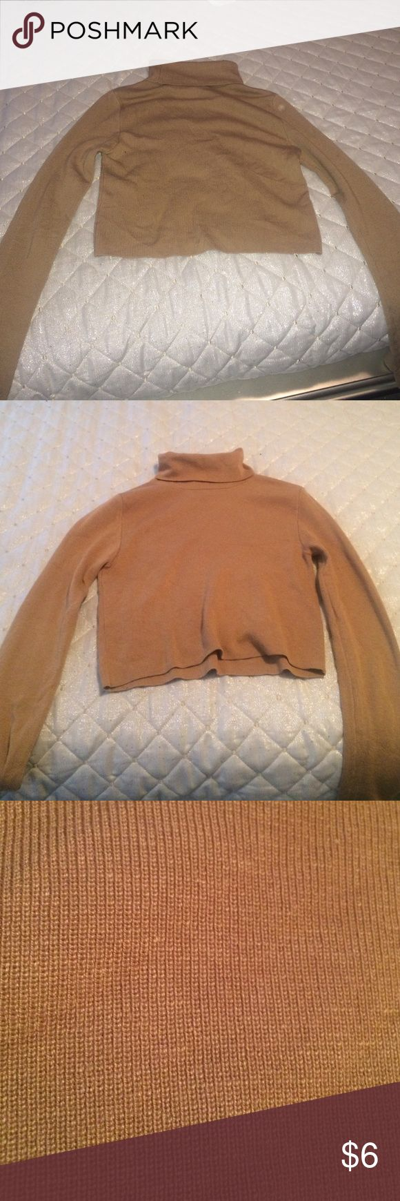 Camel cropped turtle neck Ribbed material cropped turtle neck sweater size medium Forever 21 Tops Crop Tops