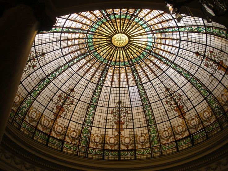Glass dome in the lobby of the Grand Bolivar Hotel in Lima Peru
