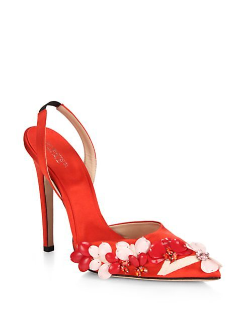 Giambattista Valli Women's Floral-Appliqué Satin Slingback Pumps