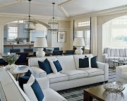 great blue and white room