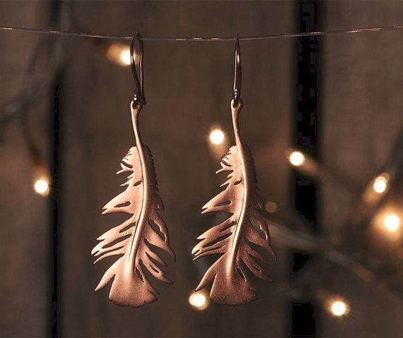 Rose Gold Feather Earrings Feather Dangle by TheSilverWhale