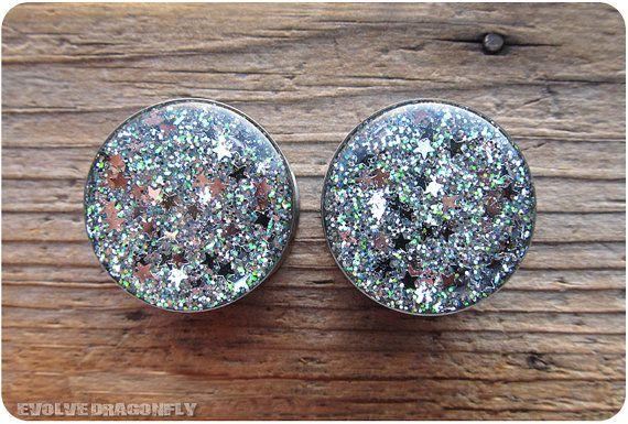 Silver Stars of Sirius Glitter Plugs -  0g, 00g, 7/16, 1/2, 9/16, 5/8, 3/4, 7/8, 1 Inch on Etsy, $21.00