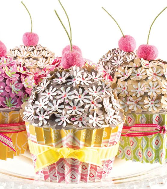 #DIY Gift Idea | Embellished Cupcake Boxes from @DCWV Inc. | Supplies available at Joann.comDiy Gifts, Feelings Crafty, Crafty Scrapbook