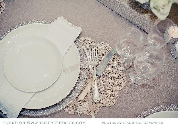 cream light grey romantic wedding table decor 008 Modern Classic Shades of White {Table Decor}