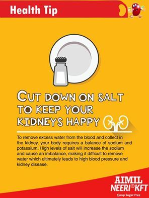 #HealthTip : #ChronicKidneyDisease is marked by progressive impairment of #kidney function. It is important to cut down #salt after being diagnosed with #kidney problem, because high-salt #diet is harmful for kidney.   #KidneyFailureTreatment #KidneySymptoms #KidneyDisease #KidneyFailure #CureKidneyDisease