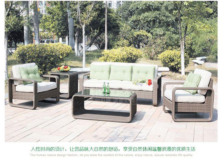 Вилла ротанг уличная мебель сада диван отдыха диван сочетание гостиная терраса на открытом воздухе патио ротанг диван - Taobao