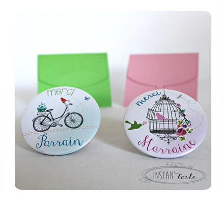 *** magnet décapsuleur livré avec sa pochette cartonnée verte ***  ***miroir livré avec sa pochette organza blanche et sa boite cadeau cartonnée rose****   Diamètre du d - 14360201