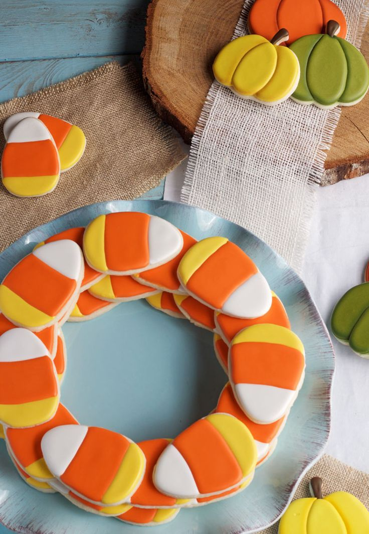 simple candy corn cookies decorated pumpkin