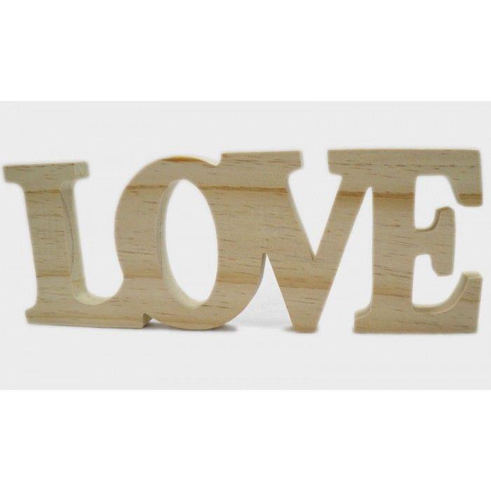Ξύλινο διακοσμητικό LOVE - φυσικό